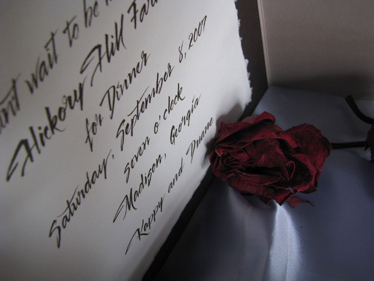 Pointed Brush Script Invite by Marlean Tucker
