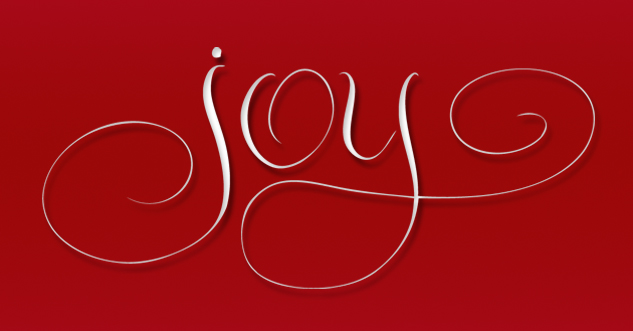 hand lettered vector - JOY-red