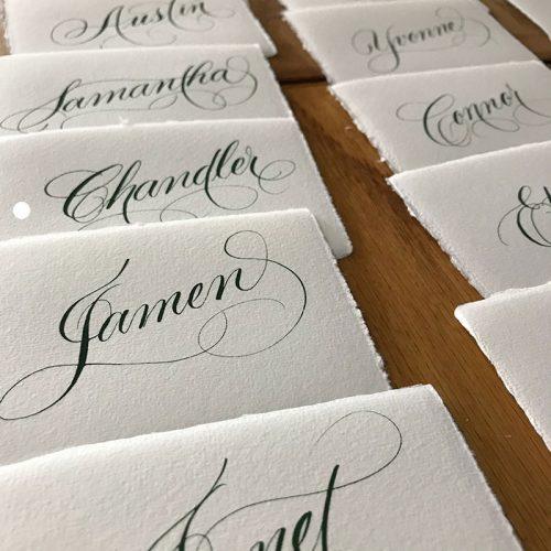 Flourished Script place Cards