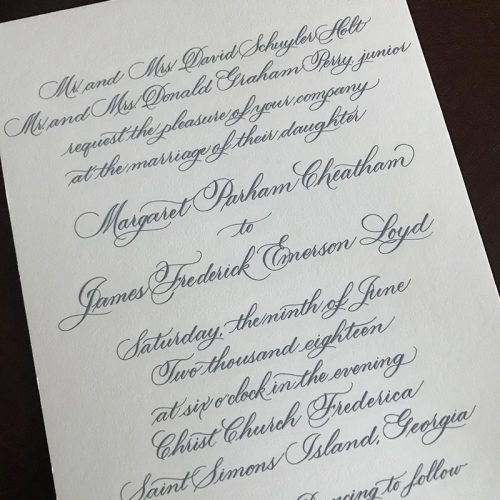 Holt invite - Flourished script