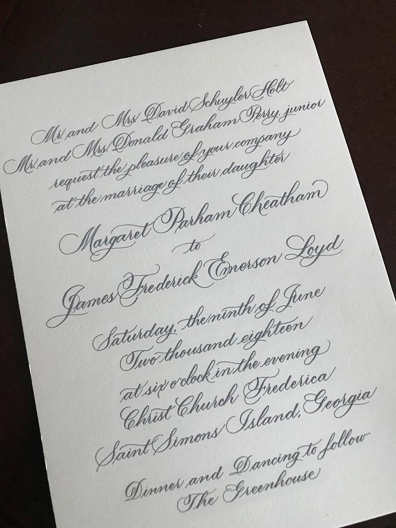 Holt invite - Flourished script