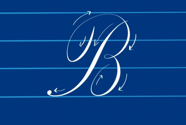 Script Calligraphy Letter B with directional arrows