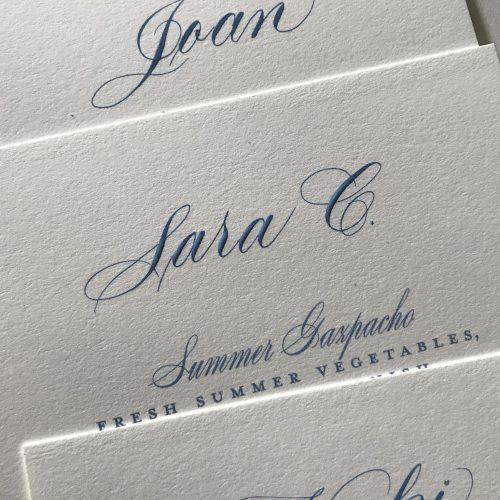 Script Calligraphy Blue bridal menu cards